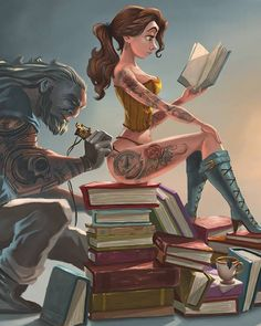 I have a fantastic collection of art here to share with you that comes from  artist Joel Santana. All of his illustrations are great, and what I like  most about his art is he has several different styles that he likes to play  with. He's got some gorgeous pin-up style art of Belle and Ariel getting  tattoos and several pieces featuring Marvel and DC superheroes. Some of  them include those heroes in cute comical situations, while others just  have a badass feel to them like Batman and…