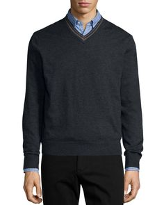 Tipped Superfine Cashmere V-Neck Sweater, Charcoal (Grey), Size: X-LARGE - Neiman Marcus