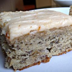 Banana Bread Cake Bars with Brown Butter Frosting