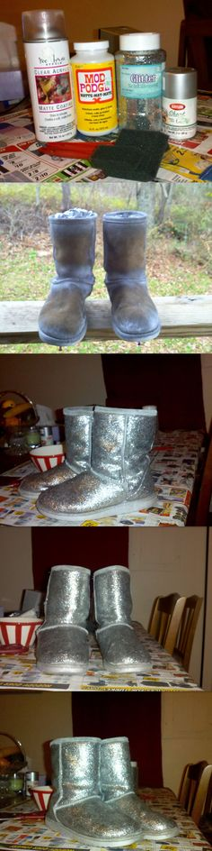 I've been wanting some sparkle UGG boots for some time now, but I could never find any knock-offs in my price range. The other day I found tutorial on Pinterest about how to make glitter flats (link: http://www.wearenotmartha.com/2010/12/make-your-own-glitter-flats/), so I decided to use it to make glitter boots! I used an old pair I got from Walmart from like 2 years ago.--ha! I have found it! need to do this to mine!