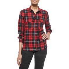 Zadig & Voltaire Tessy Printed Plaid Button-Down Shirt ($210) ❤ liked on Polyvore featuring tops, metallic top, long sleeve shirts, long sleeve tops, shirts & tops and red long sleeve shirt