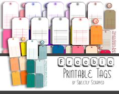 Freebie Printable Tags, 11 different color options