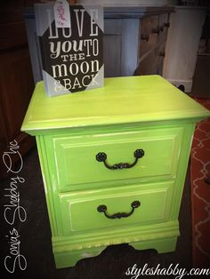 Hand painted night stand in our Junk Monkey chalky paint called Lime Soda. Always new furniture added daily at Sonia's Shabby Chic! www.styleshabby.com