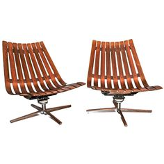 Vintage Rosewood lounge chairs by Hans Brattrud, Norway c.1960's | From a unique collection of antique and modern swivel chairs at https://www.1stdibs.com/furniture/seating/swivel-chairs/