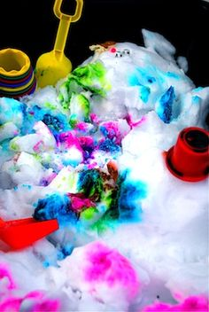Slammed by the snow storm?  Get the kids outdoors and share in the fun.  One idea that is sure to be a hit is snow painting