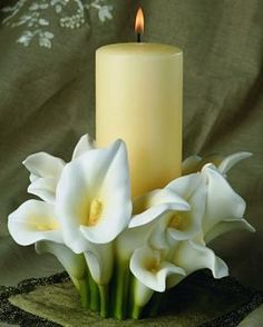 unity candle, calla lily candle, candle holder, wedding candle