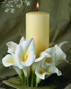 unity candle, calla lily candle, candle holder, wedding candle