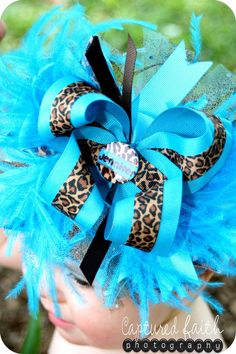 Turquoise Leopard Overthetop Hair Bow with by customcutees on Etsy, $22.00
