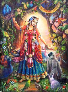 Radha-krishna Painting - Vrinda Devi by Lila Shravani