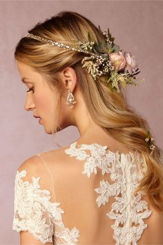 BHLDN Gilt Wire Wreath in  Bride Veils & Headpieces at BHLDN - great to purchase and add flowers to (like in pic)