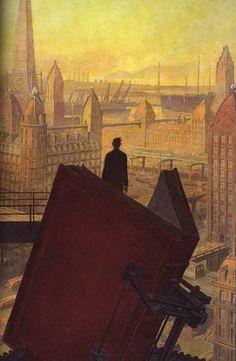 """Illustration de François Schuiten, pour le livre """" Paris au XXe siècle """" de Jules Verne (édition 1995)"""