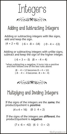Fine Positive and Negative Integer Chart at Operations with Integers Worksheet Math Teacher, Math Classroom, Teaching Math, Maths, Math Math, Math Games, Ged Math, Negative Integers, Just In Case