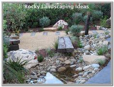 Japanese Garden Using Australian Native Plants. Flowing Waterfall Creek and Pon Japanese Garden Usin