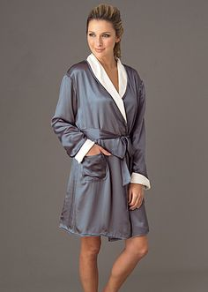 This gorgeous short robe is fully reversible with rich silk on one side to wrap you in luxury, and the softest cotton mini terry, ready to dry you off after a lovely bath, on the other. The pockets on both sides remind you to wear it anyway you like. With a luxurious detachable silk sash. It's like wearing a trip to your favorite spa. Sizes 0-22. Colors: Delicate, sand dollar and shale. #robe #wrap #ladies #silk #luxury #juliannarae #lingerie