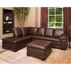 Metropolitan Top Grain Leather Sectional and Ottoman