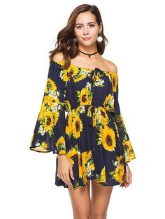 bff71fd4a Off the Shoulder Floral A-line Trumpet Sleeves Dress