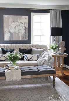 Astonishing Dark Blue Walls Add Dimension To An Off White Sofa Misty Creativecarmelina Interior Chair Design Creativecarmelinacom