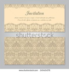 Vintage Invitation Decoration With Gold Lace Ornament Template