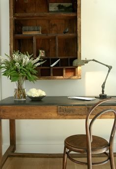 Love the bentwood chair with rustic desk & lamp (The Polished Pebble blog).
