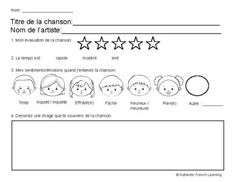 French Music Listening Response Sheet French Basics, Star Rating, The Fosters, No Response, Student, Thoughts, Learning, Music, Musica