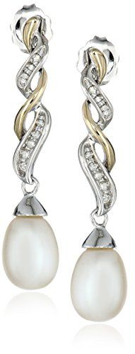 Sterling Silver and 14k Yellow Gold Diamond Accent Freshwater Cultured Pearl Earrings 9510mm *** More info could be found at the image url.