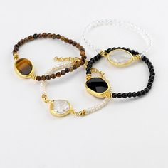 Tiger's Eye, Pearl, Onyx, Moonstone (left to right)Agate stone stretch bracelet. 24k gold plated  ChristianLivingston.com