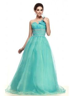 Enchanting Ball Gown One-shoulder Floor-length Organza Prom dress