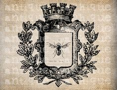 Antique French Crown Bee digital download for pillows etc.