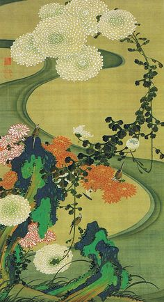 ITŌ Jakuchū(伊藤 若冲 Japanese, 1716-1800)  Chrysanthemums beside a Stream  菊花流水図   painted in thick colours on silk