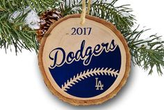 LA Dodgers Ornament, Dodgers ornament, Dodgers World Series, LA Dodgers Gift, Baseball ornament, World Series, Tree slice wooden