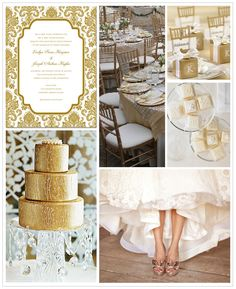 Rich gold and white wedding inspiration board