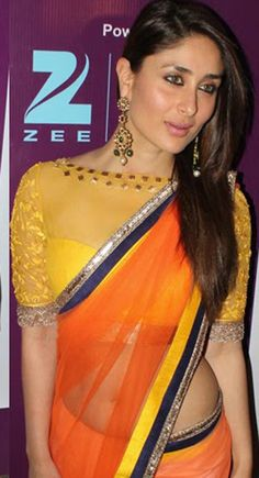 Kareena Kapoor Bollywood Beautiful Orange #Saree