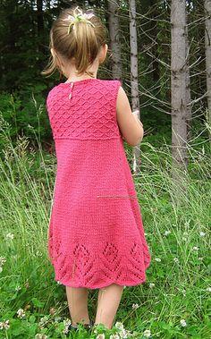 Ravelry: Eyelet Flower Dress pattern by Rene Dickey Baby Cardigan Knitting Pattern, Baby Knitting, Knitting Ideas, Knitting Projects, Knitting Patterns, Girls Knitted Dress, Knit Baby Dress, Little Girl Dresses, Girls Dresses