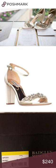 Badgley Mischka Barby Dress Sandals (Wedding) Badgley Mischka Barby Dress Sandals, Ivory Worn once for my wedding for a couple of hours. In GREAT condition! Come with bag and extra heel pieces. Badgley Mischka Shoes Sandals
