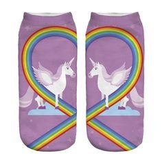 Zohra New Hot Women Hosiery Printing Socks Aqua Unicorn Meias Causal Low Cut Ankle Sock Calcetines Christmas Gift Socks Purple Unicorn, Cute Unicorn, Rainbow Unicorn, Unicorn Pattern, Unicorn Print, Fall Socks, Rainbow Socks, Crazy Socks, Rainbow Heart