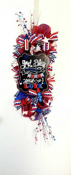 Patriotic Swag Patriotic Wreath Patriotic Decomesh Swag 4th