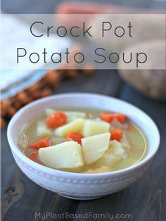 Crock Pot Potato Soup may be the easiest recipe ever made. It's dairy-free (… Crock Pot Potato Soup may be the easiest recipe ever made. It's dairy-free (vegan) but you won't miss it. Vegan Crockpot Recipes, Gourmet Recipes, Whole Food Recipes, Cooking Recipes, Healthy Recipes, Vegetarian Recipes, Healthy Soups, Going Vegetarian, Crockpot Ideas