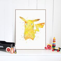 Original Watercolor Pikachu Pop Anime Kawaii Pokemon Canvas A4 Print Poster Wall Picture Kids Baby Room Decor Painting No Frame #Affiliate