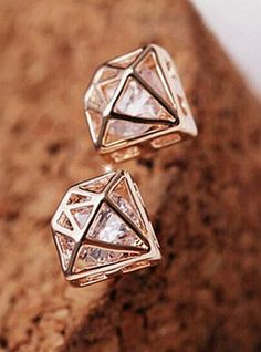 Love these Earrings Unique Design! Caged Rhinestone Studs!  Pair of Shining Rhinestone Embellished Openwork Crown Shape Earrings For Women #Caged #Rhinestone #Fashion #Jewelry #Stud #Earrings #Summer #Fashion #Accessories