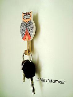 Patère hibou créée avec amour par #LaBelleEtLaChouette