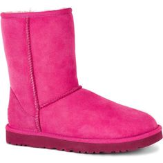 UGG Women's Classic Short Furious Fuchsia Boots ($130) ❤ liked on Polyvore featuring shoes, boots, pink, pink boots, low heel shoes, fuschia pink shoes, patent leather shoes and pink patent leather boots