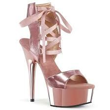 Pleaser DELIGHT-600-14 Rose Gold Metallic Pu/Rose Gold Chrome High Sandals, Bootie Sandals, Lace Up Sandals, Lace Up Heels, Pole Dance, Rose Gold Chrome, Very High Heels, Bling Shoes, Summer Dresses For Women