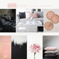Black blush is an inspirational moodboard for a master bedroom interiors that I am currently working on. The colour palette is soft, pale and muted with black as an accent colour. The moodboard is versatile with pale pink, blacks and greys blending feminine and masculine colours into a well balanced decor style. Make a bold statement by having black furniture, pale pink upholstery, a mix of grey and black linen with a hint of copper to complete the look.