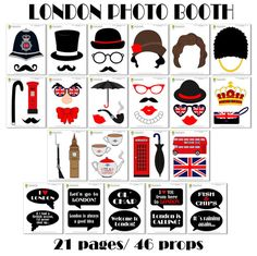 London Photo Booth Props-47 Pieces 36 props10 by HappyFiestaDesign