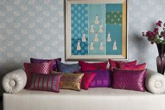 CUSHION COLLECTION Discover our range of rich, evocative and decorative cushions to suit every style. Home Decor Furniture, Home Decor Bedroom, Living Room Decor, Ethnic Home Decor, Indian Home Decor, Persian Decor, Indian Inspired Decor, Indian Interior Design, Indian Room