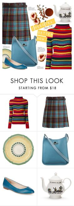 """""""Fall Happy Time!"""" by sara-cdth ❤ liked on Polyvore featuring Twin-Set, Junya Watanabe, Villeroy & Boch, Hermès, Sergio Rossi and Mrs Moore"""