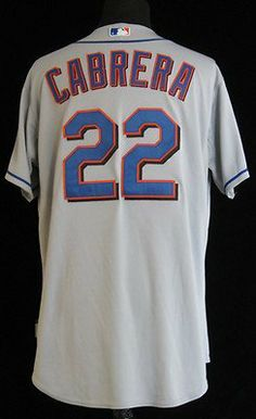 3f161a0fd 2010 New York Mets Jolbert Cabrera  22 Game Issued Grey Road Jersey - Game  Used
