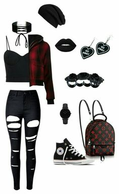 Cute Emo Outfits, Bad Girl Outfits, Teenager Outfits, Swag Outfits, Grunge Outfits, Stylish Outfits, Cute Emo Clothes, Scene Outfits, Emo Clothes For Girls