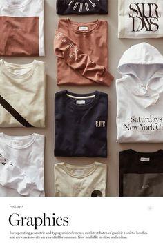Saturdays Surf NYC: New Arrivals: Fall Graphic T-Shirts and Sweats Tshirt Photography, Flat Lay Photography, Fashion Photography, Trendy Hoodies, Aesthetic T Shirts, Scarf Styles, Dress To Impress, Printed Shirts, Fashion Editorials