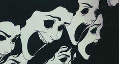 freaky faces with big mouths Arte Horror, Horror Art, Creepy Art, Scary, Manga Gore, Illustration Art, Illustrations, Coraline, Art Plastique